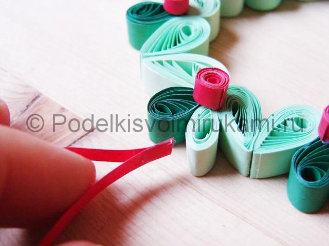 Изготовление рождественского венка из бумаги - фото 28.