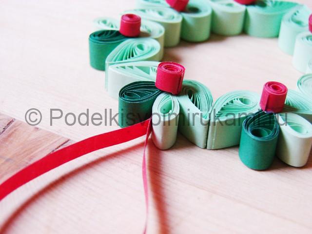 Изготовление рождественского венка из бумаги - фото 29.