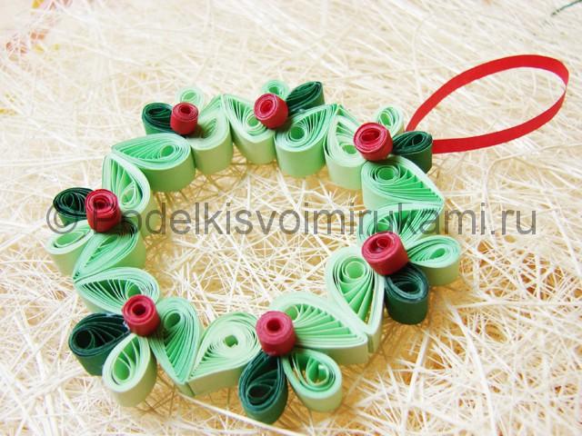 Изготовление рождественского венка из бумаги - фото 31.