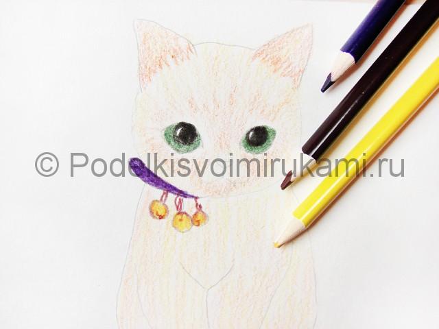 Рисуем кошку цветными карандашами - фото 11.
