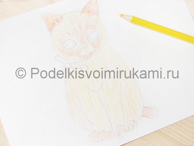 Рисуем кошку цветными карандашами - фото 8.