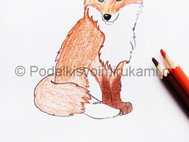 Рисуем лису цветными карандашами - фото 14.