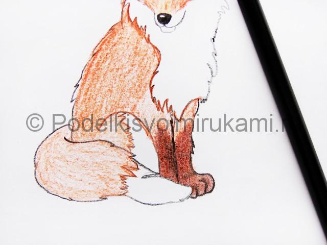 Рисуем лису цветными карандашами - фото 15.