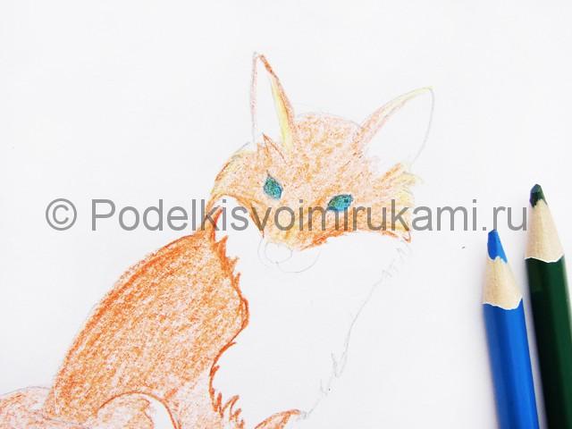 Рисуем лису цветными карандашами - фото 7.