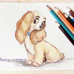 Рисунок собаки цветными карандашами.