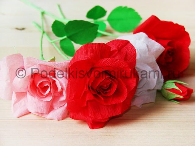 Изготовление розы из гофрированной бумаги - фото 36.