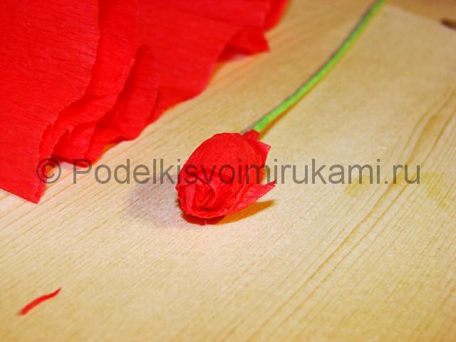 Изготовление розы из гофрированной бумаги - фото 4.
