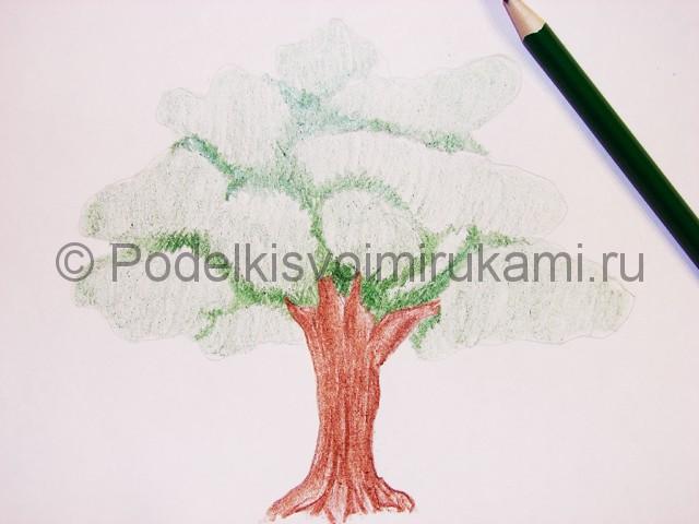 Рисуем дерево цветными карандашами - фото 10.