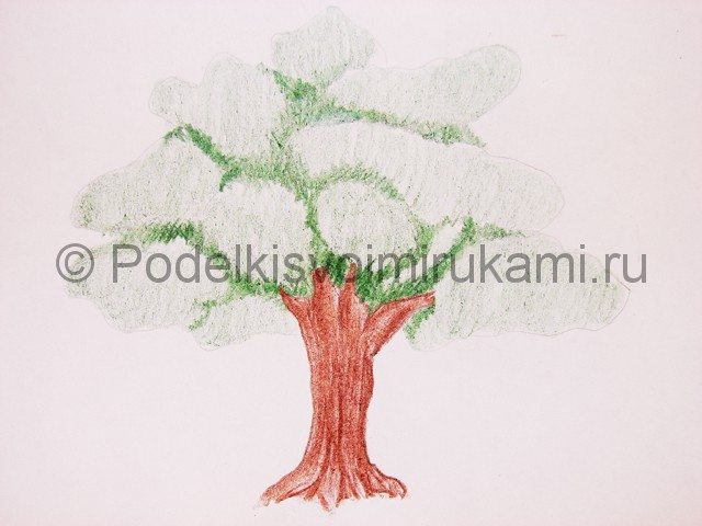 Рисуем дерево цветными карандашами - фото 11.