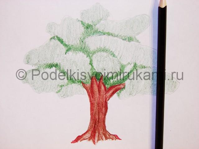 Рисуем дерево цветными карандашами - фото 12.