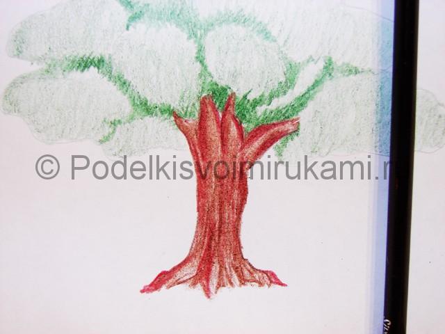Рисуем дерево цветными карандашами - фото 13.
