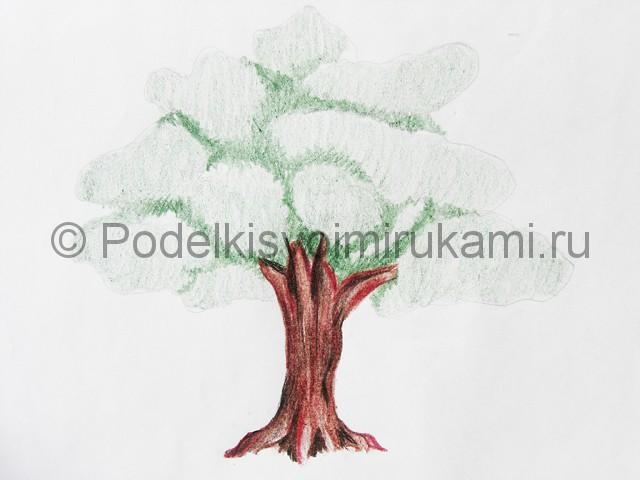 Рисуем дерево цветными карандашами - фото 15.