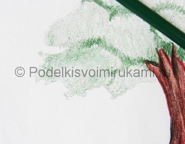 Рисуем дерево цветными карандашами - фото 16.