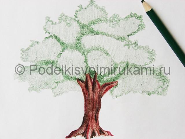 Рисуем дерево цветными карандашами - фото 17.