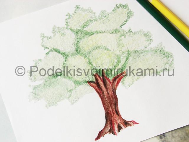 Рисуем дерево цветными карандашами - фото 19.