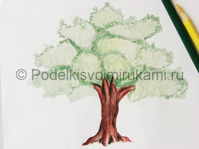 Рисуем дерево цветными карандашами - фото 20.