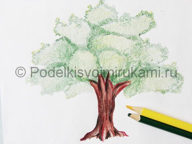 Рисуем дерево цветными карандашами - фото 22.