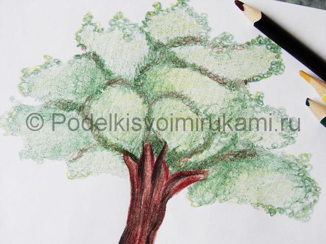 Рисуем дерево цветными карандашами - фото 23.