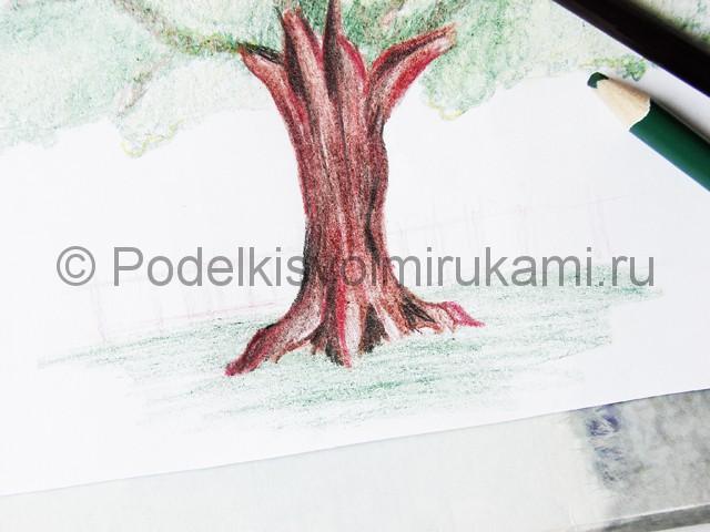 Рисуем дерево цветными карандашами - фото 25.