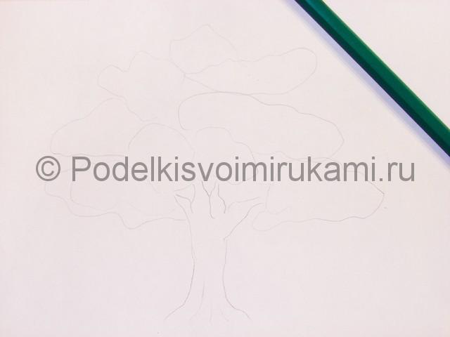 Рисуем дерево цветными карандашами - фото 3.