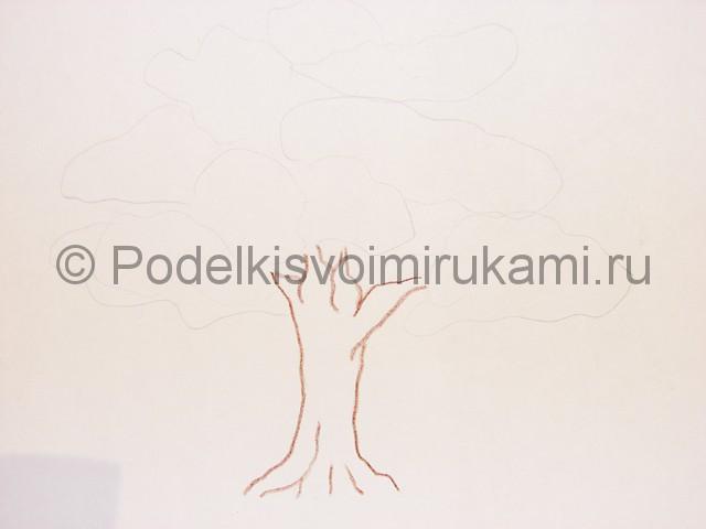 Рисуем дерево цветными карандашами - фото 4.