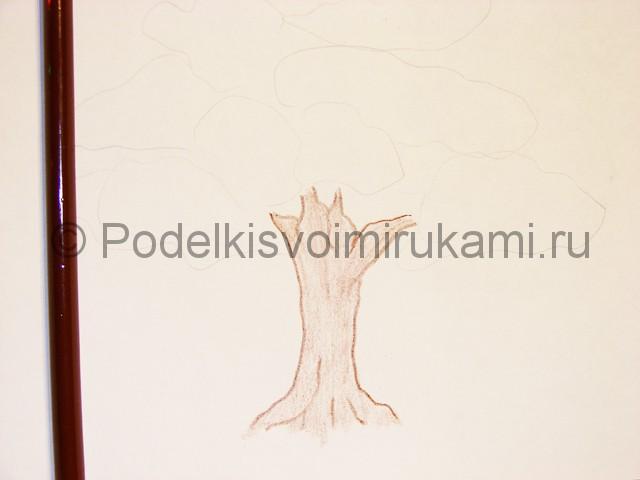 Рисуем дерево цветными карандашами - фото 5.