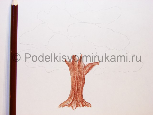Рисуем дерево цветными карандашами - фото 6.