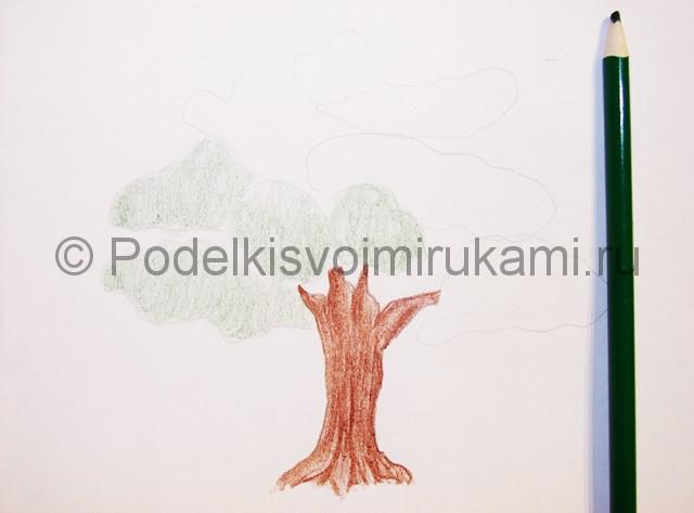 Рисуем дерево цветными карандашами - фото 7.