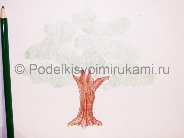 Рисуем дерево цветными карандашами - фото 8.