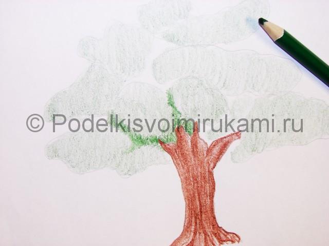 Рисуем дерево цветными карандашами - фото 9.