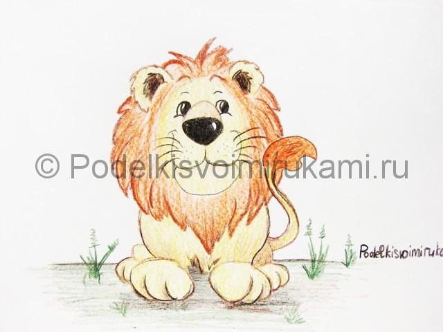 Рисуем льва цветными карандашами - фото 23.