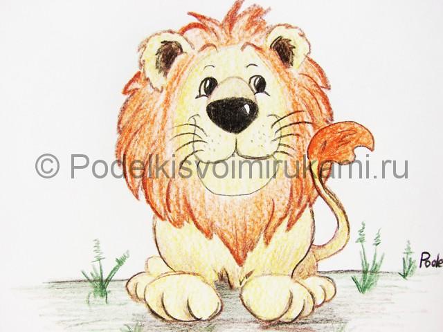 Рисуем льва цветными карандашами - фото 24.