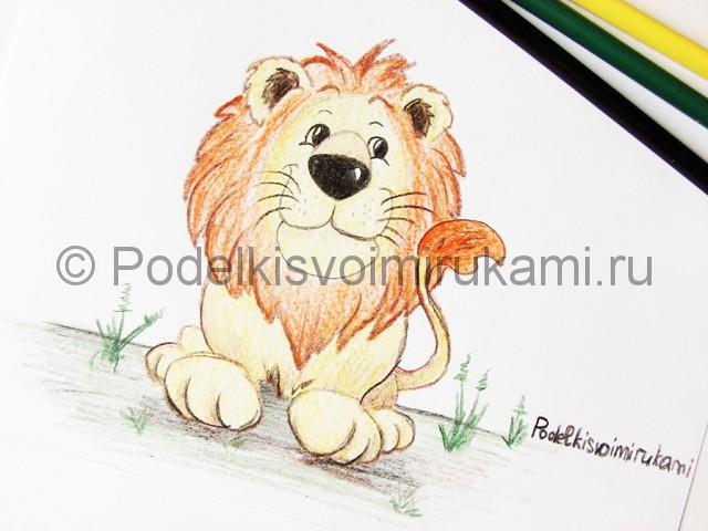 Рисуем льва цветными карандашами - фото 25.