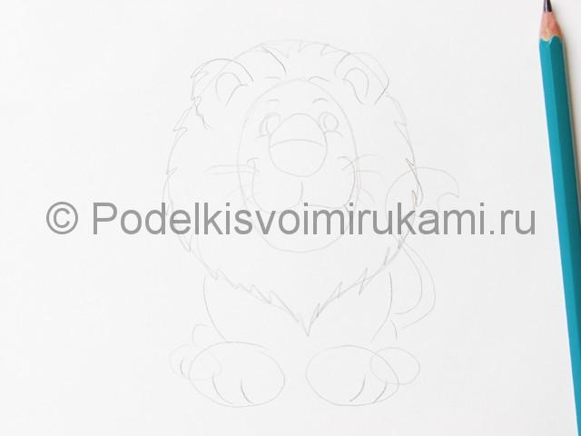 Рисуем льва цветными карандашами - фото 5.