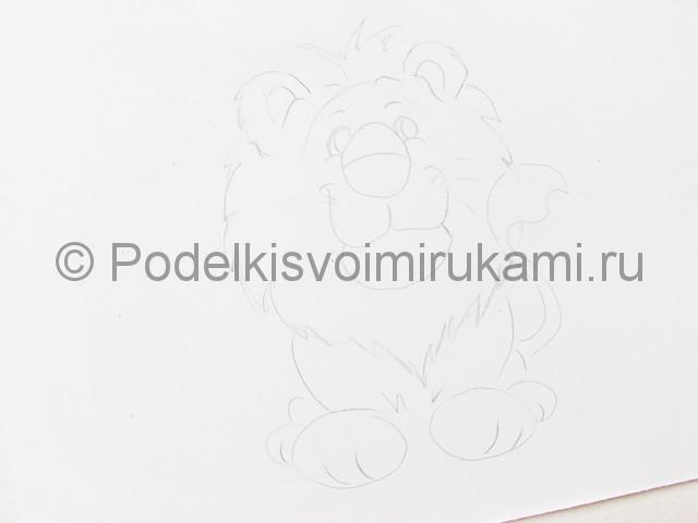 Рисуем льва цветными карандашами - фото 6.