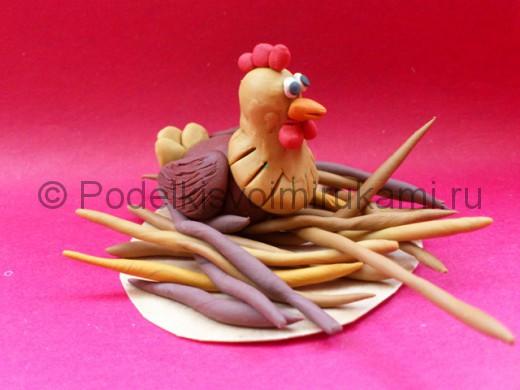 Лепка курицы из пластилина. Итоговый вид поделки.