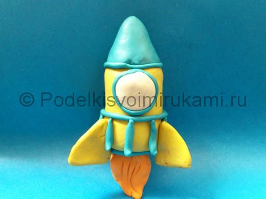 Ракета из пластилина. Итоговый вид поделки.