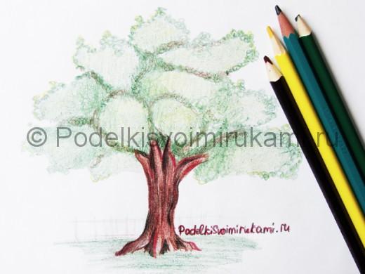 Рисунок дерева цветными карандашами.